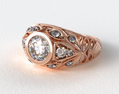 14K Rose Gold Twirled Fleur de lis Diamond Engagement Ring