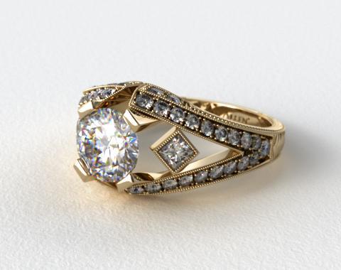 18K White Gold Geometric Inspired Diamond Engagement Ring