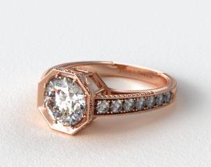 14K Rose Gold Zinnia Inspired Geometric Engagement Ring