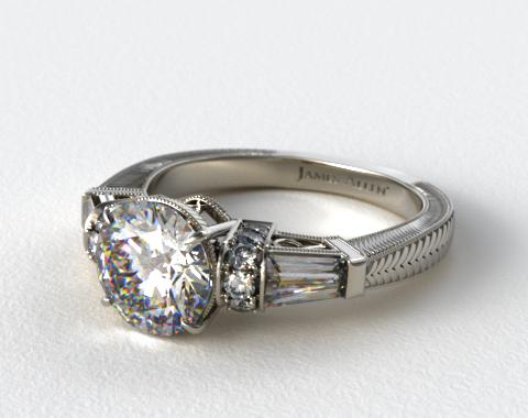 18k White Gold Baguette and Round Diamond Engagement Ring