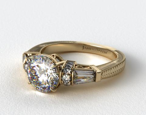 14k Yellow Gold Baguette and Round Diamond Engagement Ring