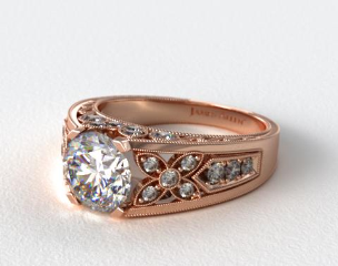 14K Rose Gold Diamond Flower Engagement Ring