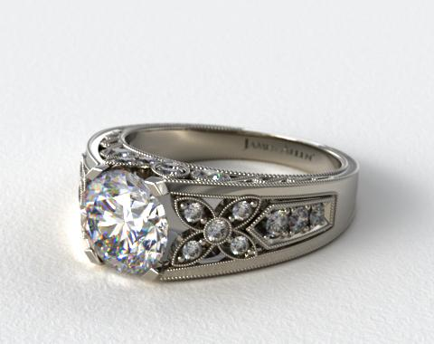 Platinum Diamond Flower Engagement Ring