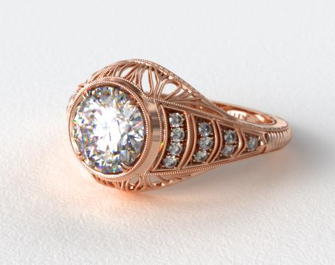 14K Rose Gold Milgrain Ribbon Diamond Engagement Ring