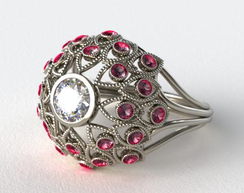 Platinum Ruby Firework Engagement Ring