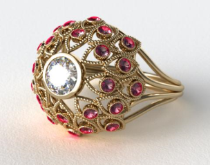 14k Yellow Gold Ruby Firework Engagement Ring