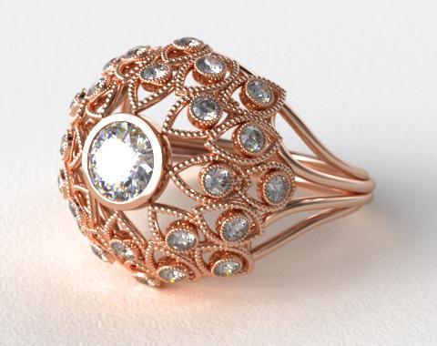 14K Rose Gold Brilliant Diamond Firework Engagement Ring