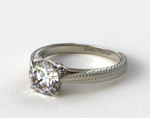 14k White Gold Fluted Basket Diamond Engagement Ring