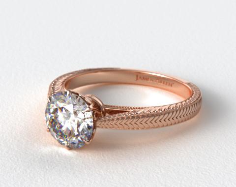 14K Rose Gold Hand Engraved Diamond Engagement Ring