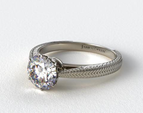 18K White Gold Hand Engraved Diamond Engagement Ring