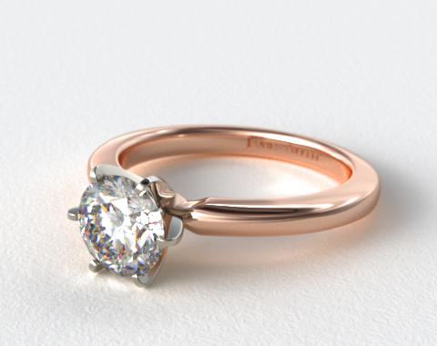 14K Rose Gold 2mm Comfort Fit Solitaire Engagement Ring (Six Prong)