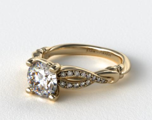 14K Yellow Gold Pave Crossover Engagement Ring