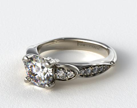 18K White Gold Button and Tied Graduated Pave Engagment Ring