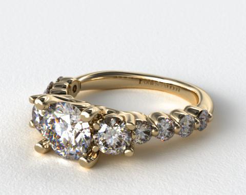 18K Yellow Gold Three Stone Diamond Round Trio Engagment Ring