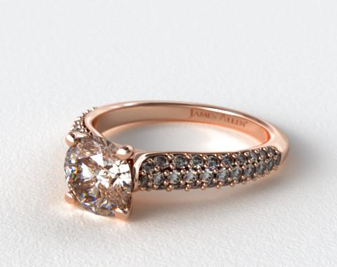 14K Rose Gold Graduated Triple Row Pave Engagement Ring