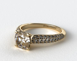 18K Yellow Gold Graduated Triple Row Pave Engagement Ring