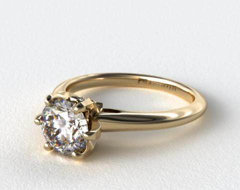 18K Yellow Gold Diamond Accented Prong Engagement Ring