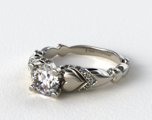 14K White Gold Heart and Pave Engagement Ring