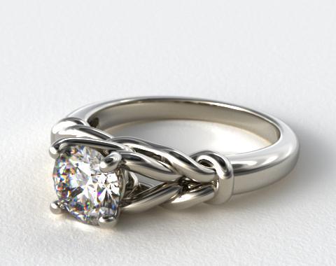 14K White Gold Diamond Love Knot Solitare