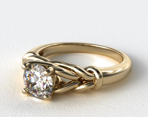 18K Yellow Gold Diamond Love Knot Solitare