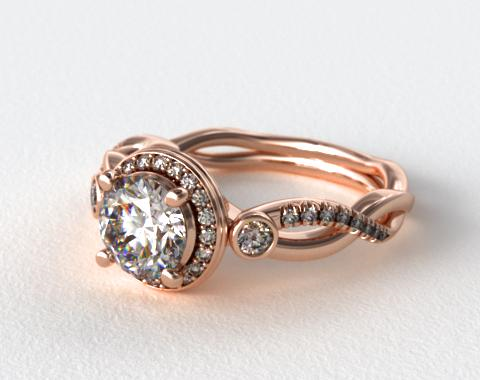 14K Rose Gold Floral Scallop Twisted Engagement Ring