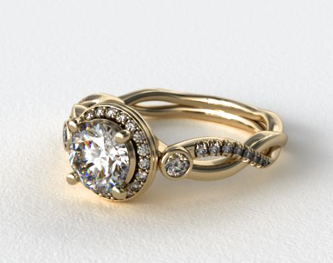 18K Yellow Gold Floral Scallop Twisted Engagement Ring
