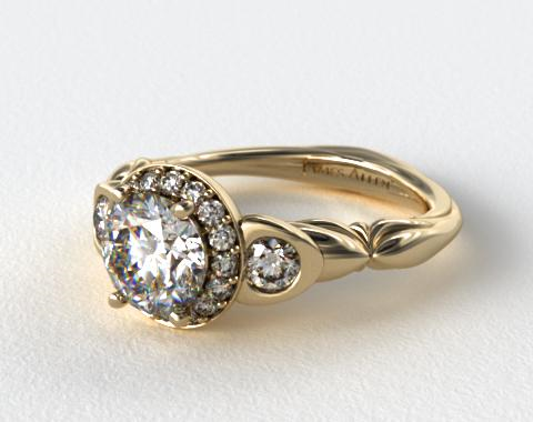 18K Yellow Gold Twisted Four Prong Ribbon Engagement Ring