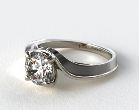 18K White Gold Bypass Engagement Ring