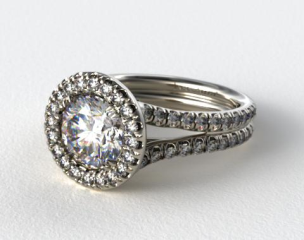14K White Gold Pave Halo Engagment Ring with Two Diamond Encrusted Bands