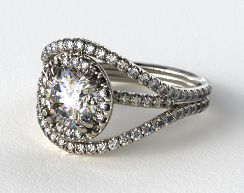 Platinum Pave Halo Engagement Ring with a Pave Split Band Design