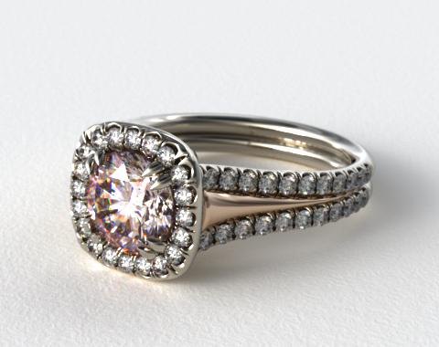 18K White Gold and Rose Gold Engagement Ring with Pave Halo and Double Claw Prongs