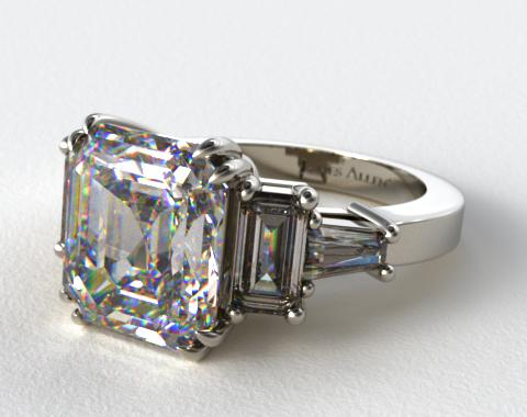 Platinum Double Claw Prong Engagement Ring with Stunning Baguette Accents