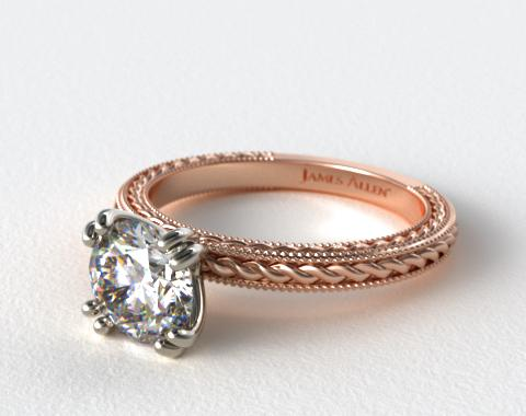 14K Rose Gold Etched Rope Solitaire