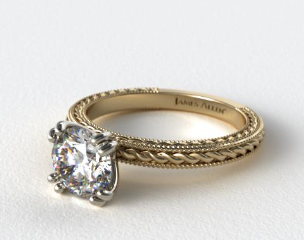 18K Yellow Gold Etched Rope Solitaire Engagement Ring
