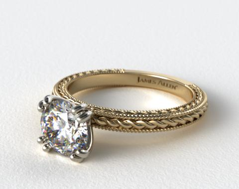 14K Yellow Gold Etched Rope Solitaire Engagement Ring