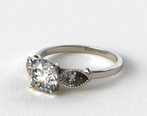 18K White Gold Vintage Fluted Pear Engagement Ring