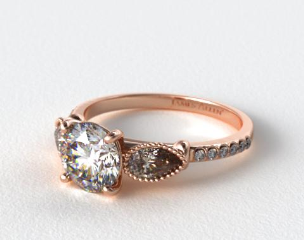 14K Rose Gold Fanciful Fluted Pear Pave Engagement Ring