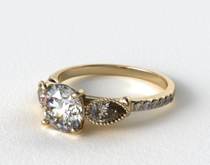 18K Yellow Gold Fanciful Fluted Pear Pave Engagement Ring