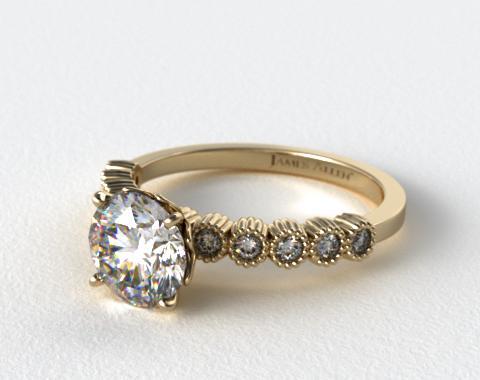 18K Yellow Gold Lotus Flower Diamond Engagement Ring