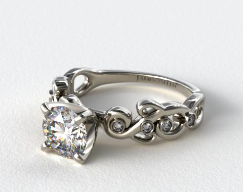18K White Gold Blossoming Vine Diamond Engagement Ring