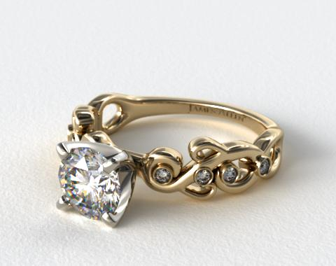 14K Yellow Gold Blossoming Vine Diamond Engagement Ring