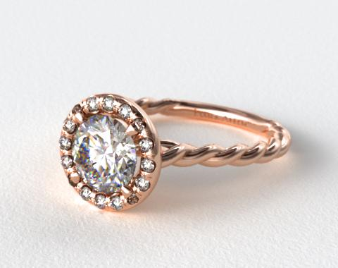14K Rose Gold   Pave Halo Cabled Diamond Engagement Ring
