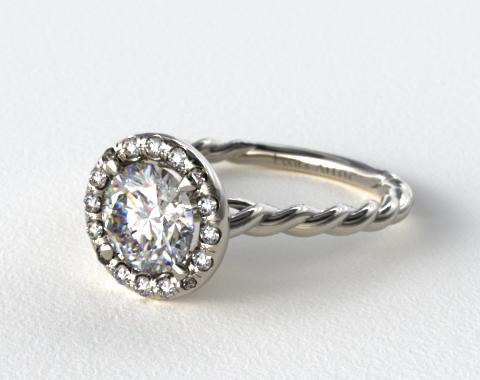 Platinum Pave Halo Cabled Diamond Engagement Ring