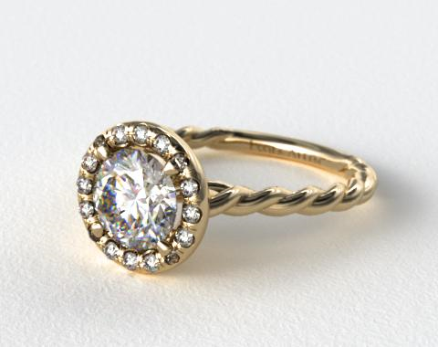 18K Yellow Gold Pave Halo Cabled Diamond Engagement Ring