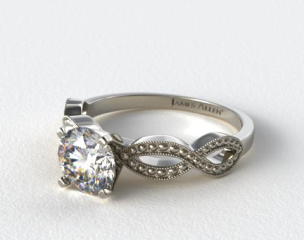 14K White Gold Vintage Infinity Engagement Ring