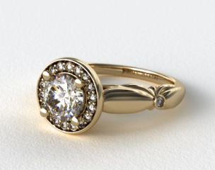18k Yellow Gold Sculpted Floral Diamond Halo Engagement Ring