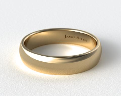 14K Yellow Gold 6mm Slightly Domed Comfort Fit Wedding Ring