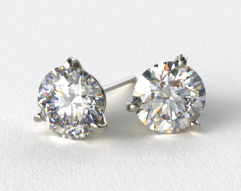18k White Gold 1.00ctw Three Prong Martini Round Brilliant Diamond Earrings