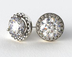 Pair of Ladies 18k White Gold Round Brilliant Diamond Pave Halo Frame Settings