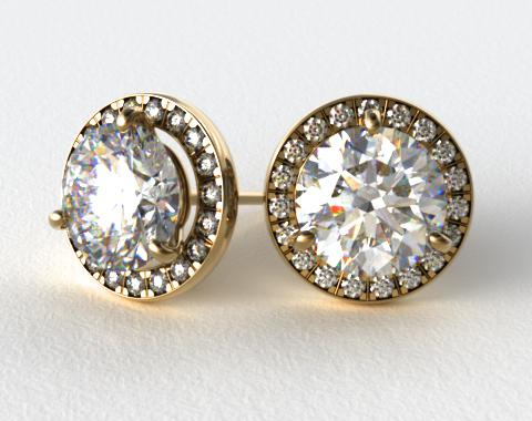 18K Yellow Gold 1ctw Round Brilliant Diamond Pave Frame Earrings